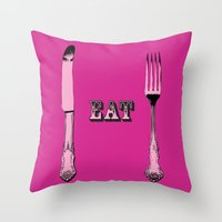 eat Throw Pillows featuring Eat by Sheridan Designs