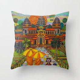 Hot Air Balloon over Angkor Wat Throw Pillow