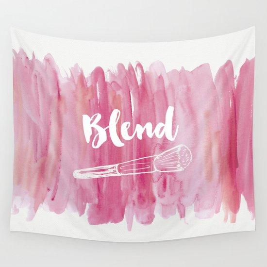 Pink Wall Tapestry pink vanity decor, makeup brush illustration, watercolour wall
