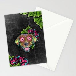 Labrador Retriever - Chocolate Lab - Day of the Dead Sugar Skull Dog Stationery Cards