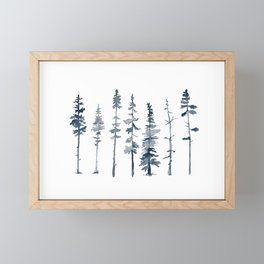 Navy Trees Silhouette Framed Mini Art Print