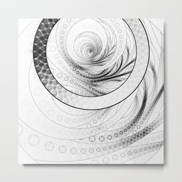 White on Black Circular Fractal of a Jinbaori Samurai Symbol Metal Print