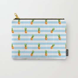 Pineapple, blue stripes, Summer Poster, Pineapple pattern Carry-All Pouch