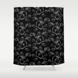 Birds of Prey - White on Black Shower Curtain