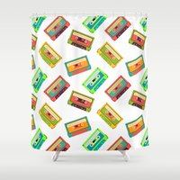 cassette Shower Curtains featuring Cassette Pattern by Stephanie Keir