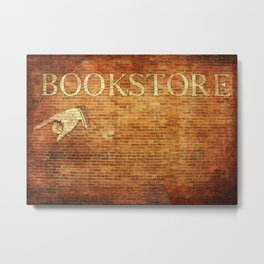 Bookstore Sign on Brick Wall Metal Print