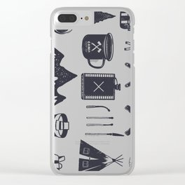 Bushcraft Icons and Hiking Symbols Clear iPhone Case