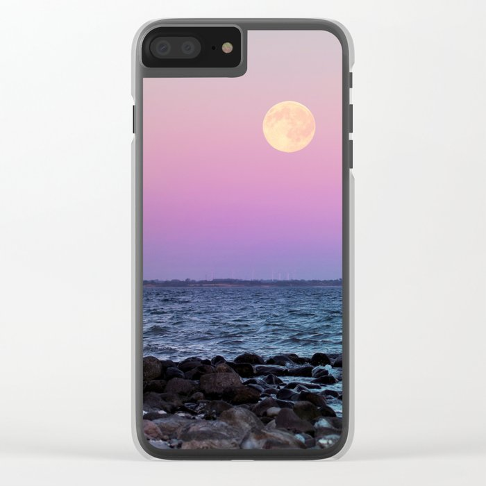Full Moon on Blue Hour Clear iPhone Case