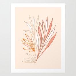 Simple Earthy Leaves - line drawing Art Print