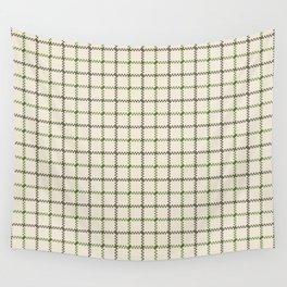 Fern Green & Sludge Grey Tattersall on Cream Background Wall Tapestry