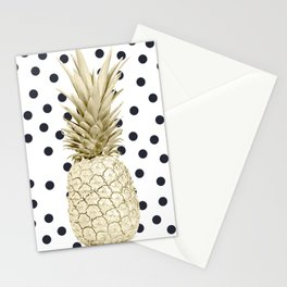 Gold Pineapple on Black and White Polka Dots Stationery Cards