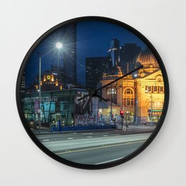 flinders street station in the blue hour Wall Clock