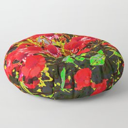 Red flowers garden Floor Pillow