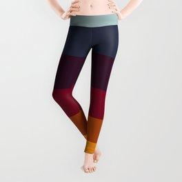 Colorful Jewel Tones Navy Honey & Purple Stripe Pattern Leggings
