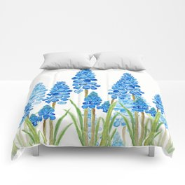 blue grape  hyacinth forest Comforters