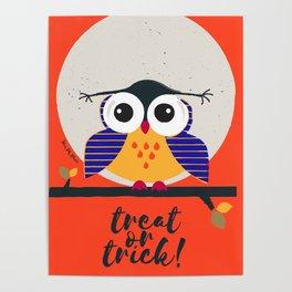 big eyed halloween owl Poster