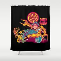 ripley Shower Curtains featuring RIPLEY'S BITCH-BUSTER by BeastWreck