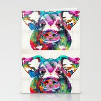 Stationery Cards featuring Colorful Pig Art - Squeal Appeal - By Sharon Cummings by Sharon Cummings