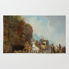 BÜRKEL, HEINRICH (Pirmasens 1802 - 1869 Munich) The coach ambush. Rug