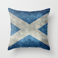 Flag of Scotland, Vintage Retro Style Throw Pillow