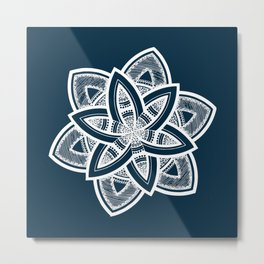 Authentic white mandala on blue Metal Print