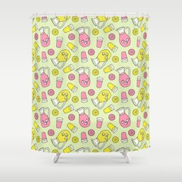 Summer Doodle - Pink and Yellow Lemonade Pattern Shower Curtain