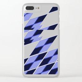 Blue Vibrate Plaid Clear iPhone Case
