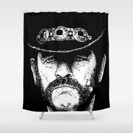 A portrait of Lemmy Kilmister of Motorhead Shower Curtain