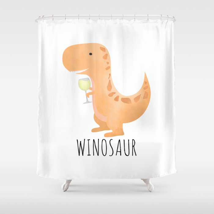 Winosaur | White Wine Shower Curtain