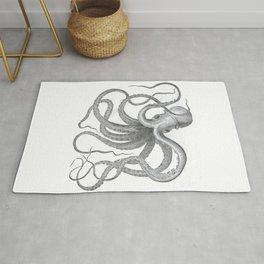 Vintage nautical steampunk octopus kraken sea monster steampunk drawing Rug