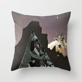 goat mountain | Paper Collage Surreal Stoner Rock Psychedelic Occult Art | Funny Animal Throw Pillow