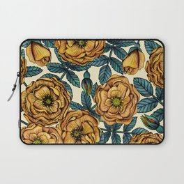 Golden Yellow Roses - A Vintage-Inspired Floral/Botanical Pattern Laptop Sleeve
