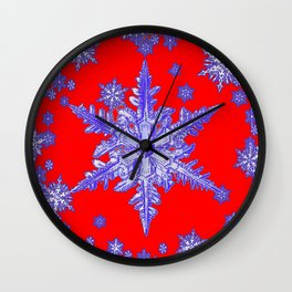 DECORATIVE PURPLE TINTED SNOWFLAKES ON RED Wall Clock