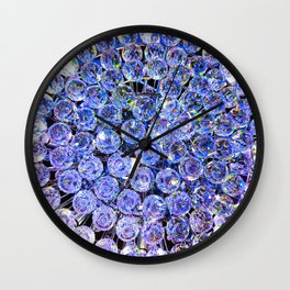 Blue Purple Crystals Wall Clock