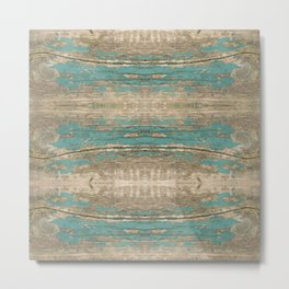 Rustic Wood - Beautiful Weathered Wooden Plank - knotty wood weathered turquoise paint Metal Print