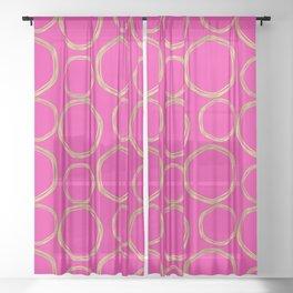 Hot Pink & Gold Circles Sheer Curtain