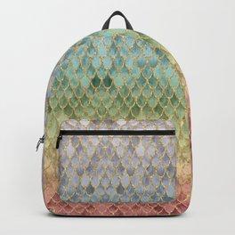 Rainbow Marble Mermaid Scales Backpack