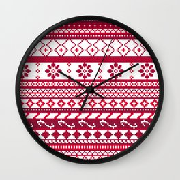 Red Fair Isle Christmas Pattern Wall Clock