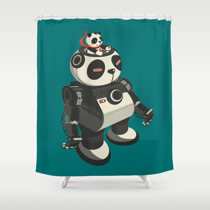 Mecha Panda Shower Curtain By Monosteven
