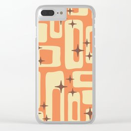 Retro Mid Century Modern Abstract Pattern 576 Orange Brown Clear iPhone Case
