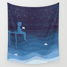 Boy with paper boats, blue Wall Tapestry