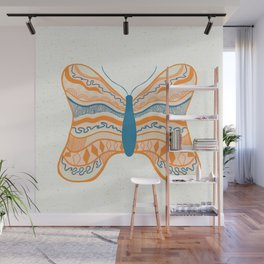 butterfly I: orange & teal Wall Mural