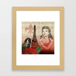 Retro Pinup Girl Vintage Paris Collage Framed Art Print