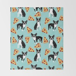boston terrier pizza dog lover pet gifts cute boston terriers pure breeds Throw Blanket