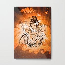 Samurai Woman Warrior, Gift to Martial Arts Girls Metal Print