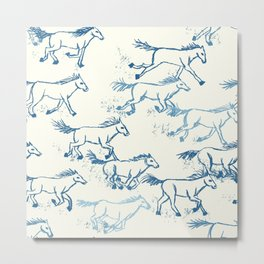 Wild and Free - Teal and Cream Metal Print