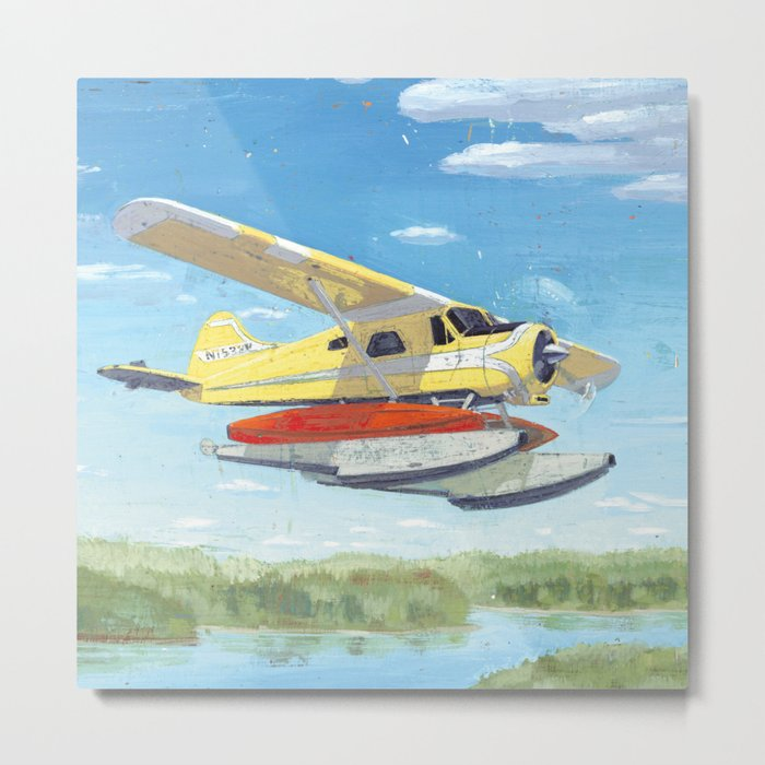 float plane - by phil art guy Metal Print