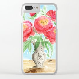 Peonies in Vase Clear iPhone Case