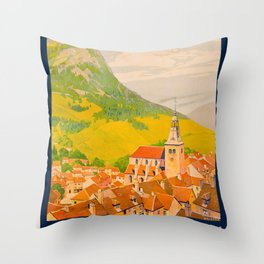 Vintage poster - Route du Jura, France Throw Pillow