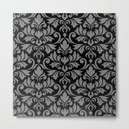 Flourish Damask Big Ptn Gray on Black Metal Print